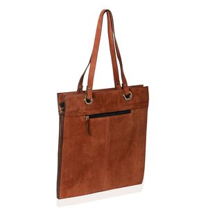 MEGA CLEARANCE Brown Genuine Suede Leather RFID Tote Bag (15x15 in)