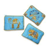 Set of 3 Turquoise Hand Embroidered Animal Coin Purses (5x3.5 in)