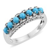 Arizona Sleeping Beauty Turquoise, Cambodian Zircon Platinum Over Sterling Silver Ring (Size 6.0) TGW 1.15 cts.