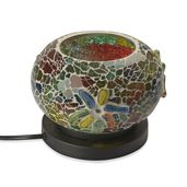 TLV Handcrafted Multi Color Floral Design Mosaic Electric Lamp with Himalayan Salt (7 in)