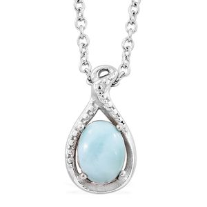 Larimar Platinum Bond Brass Drop Pendant With Stainless Steel Chain (20 in) TGW 1.40 cts.