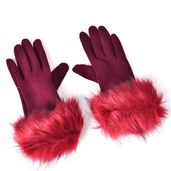 Wine Red 100% Polyester Faux Fur Glove (3.14x9.05 in)