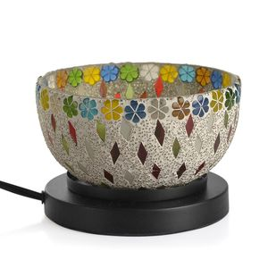 TLV Handcrafted White Floral and Rhombus Design Mosaic Electric Lamp with Himalayan Salt (6.5 in)
