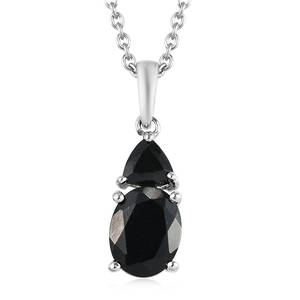 Australian Black Tourmaline, Thai Black Spinel Platinum Over Sterling Silver Pendant With Chain (20 in) TGW 2.60 cts.