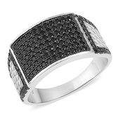 Kevin's Presidential Deal Thai Black Spinel Black Rhodium Sterling Silver Men's Ring (Size 12.0) TGW 1.75 cts.