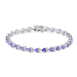 Tanzanite, White Zircon Sterling Silver Tennis Bracelet (7.50 In) TGW 8.95 cts.