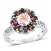 Mercury Mystic Topaz, Multi Gemstone Platinum Over Sterling Silver Ring (Size 10.0) TGW 3.82 cts.