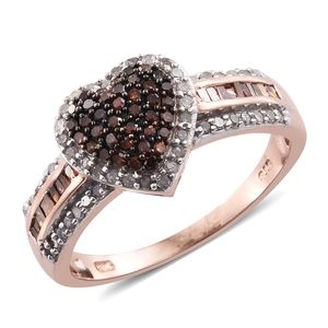 Red Diamond (IR), Diamond Black Rhodium, Platinum & 14K RG Over Sterling Silver Heart Ring (Size 9.0) TDiaWt 0.75 cts, TGW 0.75 cts.