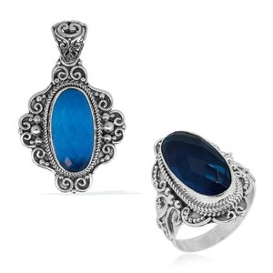 Bali Legacy Collection Caribbean Quartz Sterling Silver Ring (Size 7) and Pendant without Chain TGW 19.57 cts.
