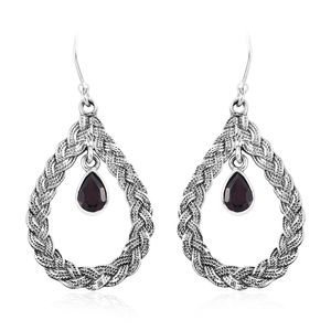 Orissa Rhodolite Garnet Sterling Silver Dangle Earrings TGW 1.84 cts.