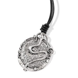 Austrian Crystal Silvertone Snake Pendant on Black Cord Necklace (32 in)