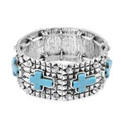 Blue Howlite, White Austrian Crystal Silvertone Bracelet (Stretchable) (6.00 In) TGW 36.00 cts.