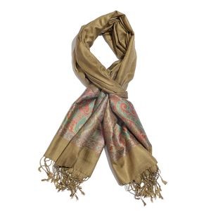 Taupe, Multi Color 100% Silk Jacquard Scarf with Handmade Fringes (28x72 in)