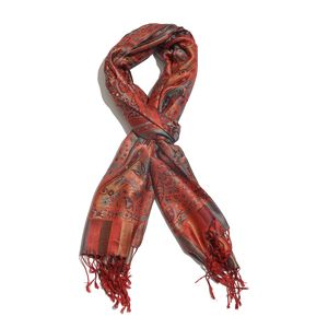 Maroon and Turquoise 100% Silk Jacquard Scarf with Handmade Fringes (28x72 in)