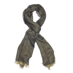Black and Khaki 100% Modal Reversible Scarf (82x28 in)