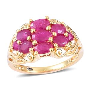 Burmese Ruby 14K YG Over Sterling Silver Ring (Size 10.0) TGW 1.83 cts.