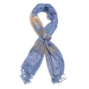 Classic Blue 100% Viscose Tribal Pattern Scarf with Fringes (72x26 in)