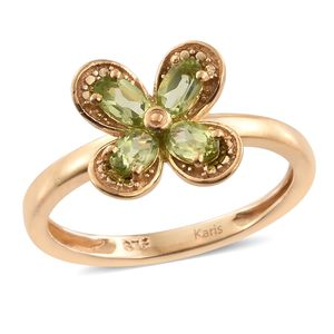 KARIS Collection - Hebei Peridot ION Plated 18K YG Brass Flower Ring (Size 7.0) TGW 1.13 cts.