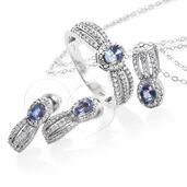 Ceylon Blue Sapphire, Cambodian Zircon Platinum Over Sterling Silver Earrings, Ring (Size 8) and Pendant With Chain (20 in) TGW 2.49 cts.