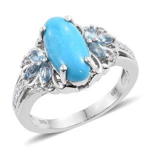 Arizona Sleeping Beauty Turquoise, Blue Topaz, Cambodian Zircon Platinum Over Sterling Silver Ring (Size 10.0) TGW 3.47 cts.