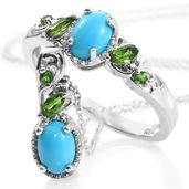 Ankur's Treasure Chest Arizona Sleeping Beauty Turquoise, Russian Diopside Platinum Over Sterling Silver Ring (Size 6) and Pendant With Chain (20 in) TGW 2.08 cts.
