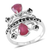 Niassa Ruby (FF), Thai Black Spinel Sterling Silver Openwork Heart Ring (Size 10.0) TGW 4.26 cts.