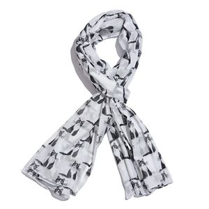 White 100% Cotton Cat Printed Scarf (72x45 in)