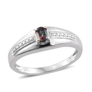 Northern Lights Mystic Topaz Platinum Bond Brass Men's Signet Ring (Size 11.0) TGW 0.50 cts.
