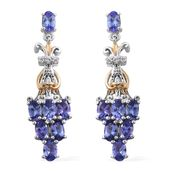 Premium AAA Tanzanite, Cambodian Zircon 14K YG and Platinum Over Sterling Silver Earrings TGW 3.85 cts.