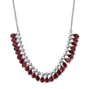 Niassa Ruby, White Topaz Platinum Over Sterling Silver Necklace (18 in) TGW 29.07 cts.