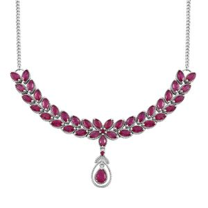 Doorbuster Niassa Ruby (FF) Platinum Over Sterling Silver Evening Wear Necklace (18 in) TGW 16.35 cts.