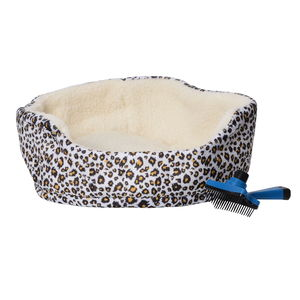 Multi Color Leopard Pattern Indoor Small Pet Bed and Pet Brush