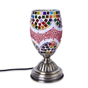 Turkish Inspired Handcrafted Bright Sprint Moroccan Mosaic Table Lamp with Bronze Base (9x4.5 in) (Requires  E-12 Bulb Adapter Included)