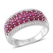 Web Exclusive Doorbuster Burmese Ruby, Cambodian White Zircon Sterling Silver Cluster Ring (Size 9.0) TGW 2.96 cts.