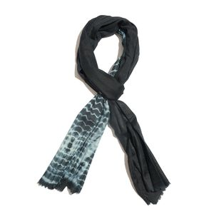 Black 100% Merino Wool Tie Dye Scarf (80x28 in)