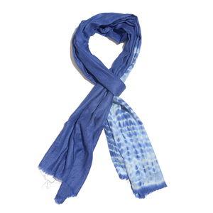 Royal Blue 100% Merino Wool Tie Dye Scarf (80x28 in)