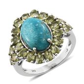 Nevada Turquoise, Hebei Peridot Platinum Over Sterling Silver Ring (Size 10.0) TGW 9.44 cts.