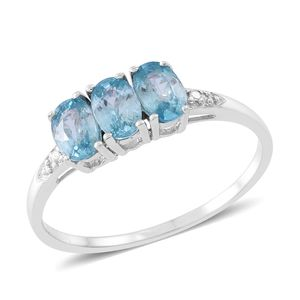 Web Exclusive Doorbuster Blue Zircon Sterling Silver Trilogy Ring (Size 10.0) TGW 2.10 cts.