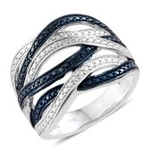 KARIS Collection - Blue Diamond (IR) Blue Rhodium & Platinum Bond Brass Accent Ring (Size 9.0)