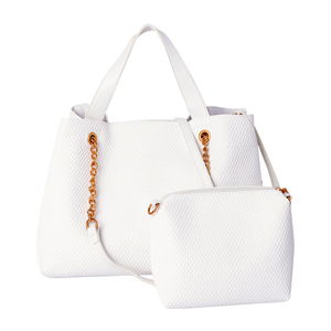 White Weave Faux Leather Pattern Hobo Bag (16x5.5x10 in) with Matching Pouch (9.5x3x6 in) and Removable Strap