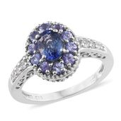 Ceylon Blue Sapphire, Tanzanite, Cambodian Zircon Platinum Over Sterling Silver Ring (Size 9.0) TGW 2.04 cts.