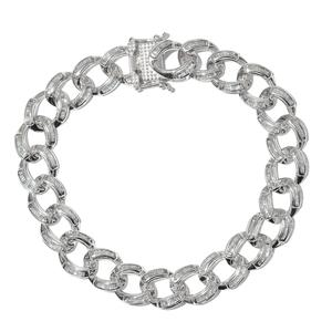 Diamond Platinum Over Sterling Silver Men's Curb Bracelet (9.00 In) TDiaWt 1.50 cts, TGW 1.50 cts.