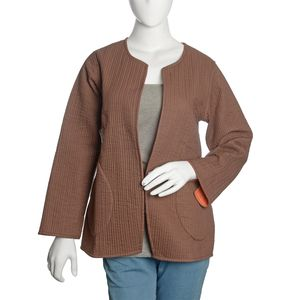 Brown and Burnt Orange 100% Cotton Reversible Quilted Jacket (XL/XXL)