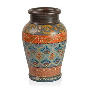 Hand Painted Light Blue Multi Color Floral Pattern Terracotta Clay Flower Vase (5x10.5x5 in)