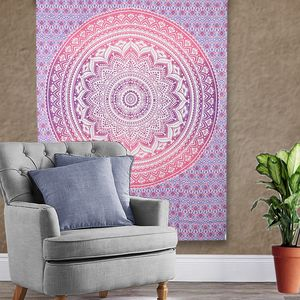 Purple and Pink Mandala Print Multi-Purpose Wall Tapestry