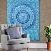 Sky Blue 100% Cotton Wall Hanging with 4 Loop (53.15x78.74 in)