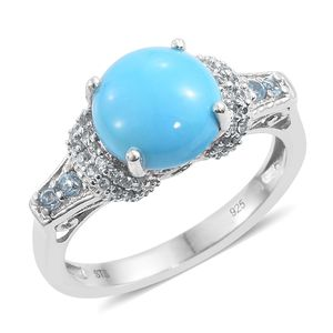 Arizona Sleeping Beauty Turquoise, Electric Blue Topaz, Cambodian Zircon Platinum Over Sterling Silver Ring (Size 6.0) TGW 3.78 cts.