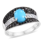 SLEEPING BEAUTY TURQUOISE, Multi Gemstone Platinum Over Sterling Silver Ring (Size 8.0) TGW 2.23 cts.