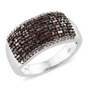 Red Diamond (IR), Diamond Black Rhodium & Platinum Over Sterling Silver Cluster Ring (Size 8.0) TDiaWt 1.05 cts, TGW 1.05 cts.