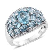 Cambodian Blue Zircon, Cambodian Zircon Platinum Over Sterling Silver Ring (Size 6.0) TGW 8.00 cts.